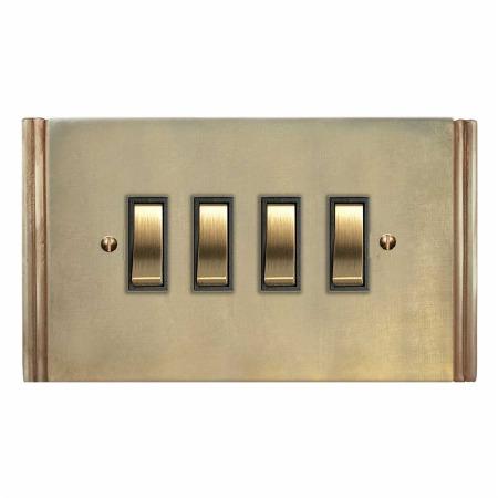 Plaza Rocker Light Switch 4 Gang Antique Satin Brass