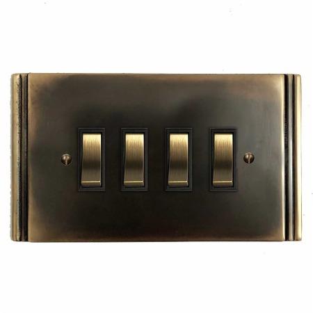 Plaza Rocker Light Switch 4 Gang Dark Antique Relief