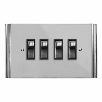 Plaza Rocker Light Switch 4 Gang Polished Chrome & Black Trim