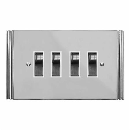 Plaza Rocker Light Switch 4 Gang Polished Chrome & White Trim