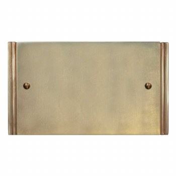 Plaza Double Blank Plate Antique Satin Brass