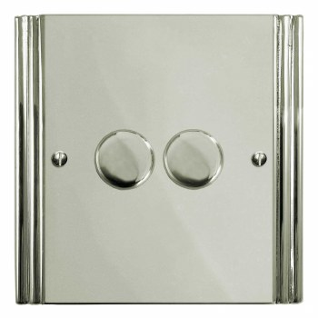 Plaza Dimmer Switch 2 Gang Polished Nickel