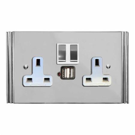 Plaza Switched Socket 2 Gang USB Polished Chrome & White Trim