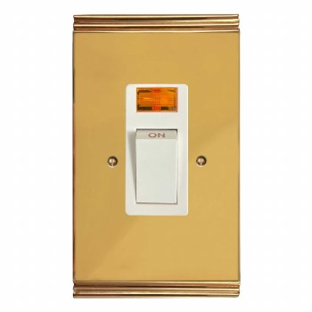 Plaza Vertical Cooker Switch Polished Brass Lacquered & White Trim