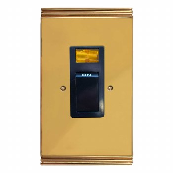 Plaza Vertical Cooker Switch Polished Brass Unlacquered