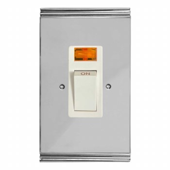 Plaza Vertical Cooker Switch Polished Chrome & White Trim