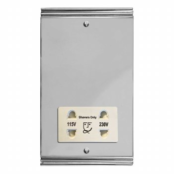 Plaza Shaver Socket Polished Chrome & White Trim