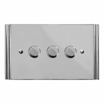 Plaza Dimmer Switch 3 Gang Polished Chrome