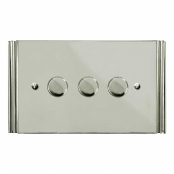 Plaza Dimmer Switch 3 Gang Polished Nickel