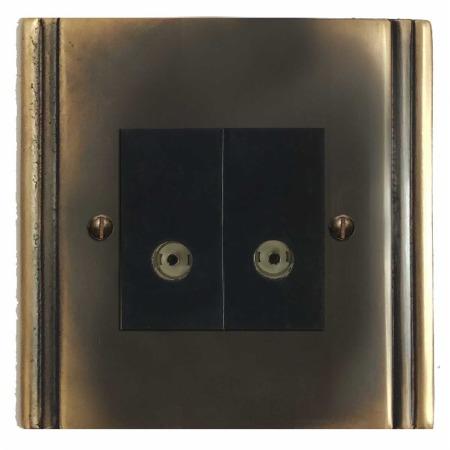 Plaza TV Socket Outlet 2 Gang Dark Antique Relief