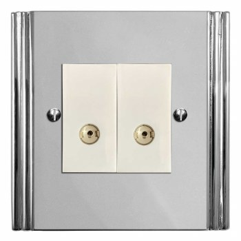 Plaza TV Socket Outlet 2 Gang Polished Chrome & White Trim