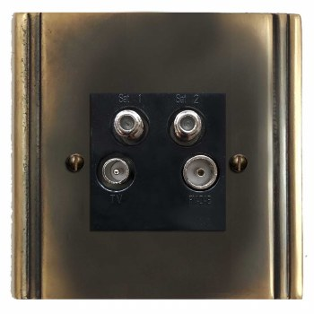 Plaza Quadplex TV Socket Dark Antique Relief