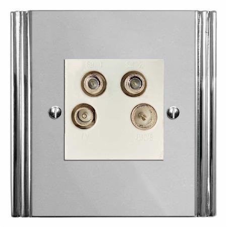 Plaza Quadplex TV Socket Polished Chrome & White Trim