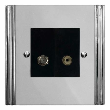 Plaza Satellite & TV Socket Outlet Polished Chrome & Black Trim