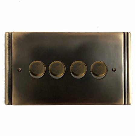 Plaza Dimmer Switch 4 Gang Dark Antique Relief
