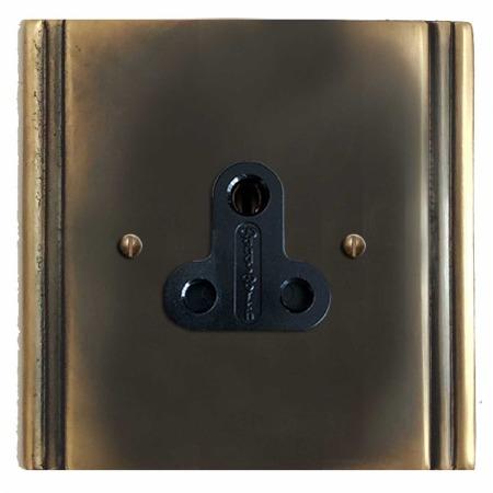 Plaza Lighting Socket Round Pin 5A Dark Antique Relief