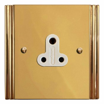 Plaza Lighting Socket Round Pin 5A Polished Brass Lacquered & White Trim