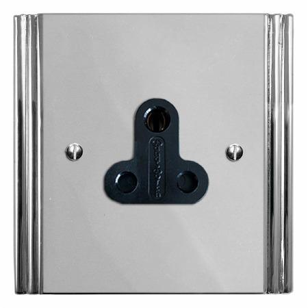 Plaza Lighting Socket Round Pin 5A Polished Chrome & Black Trim