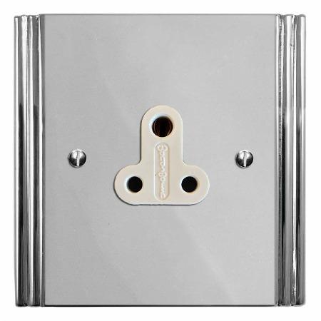 Plaza Lighting Socket Round Pin 5A Polished Chrome & White Trim