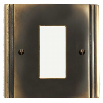 Plaza Plate for Modular Electrical Components 50x25mm Dark Antique Relief
