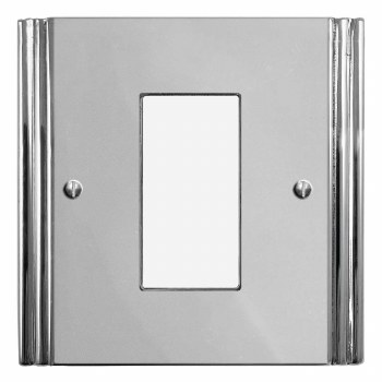 Plaza Plate for Modular Electrical Components 50x25mm Polished Chrome