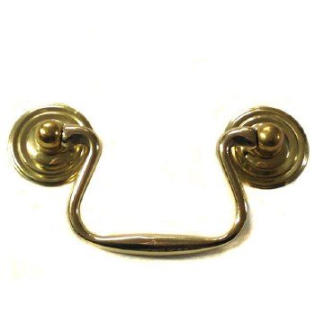 Armac Plain Drawer Handle 64mm Polished Brass Lacquered