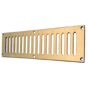 """Plain Slotted Air Vent 12"""" x 3"""" Polished Brass Unlacquered"""