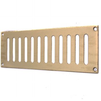 """Plain Slotted Air Vent 9"""" x 3"""" Polished Brass Unlacquered"""