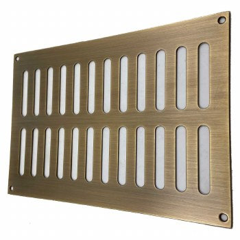 """Plain Slotted Air Vent 9"""" x 6"""" Antique Brass Unlacquered"""