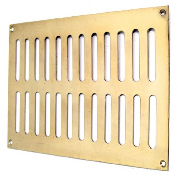 """Plain Slotted Air Vent 9"""" x 6"""" Polished Brass Unlacquered"""