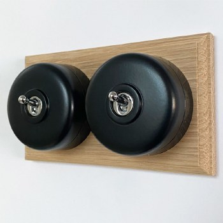 Round Dolly Light Switch 2 Gang Black on Oak Pattress with Black Mounts