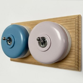 Round Dolly Light Switch 2 Gang Mix and Match on Oak Pattress with White Mounts