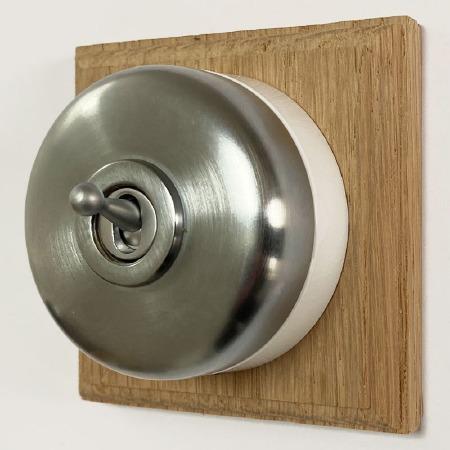 Round Dolly Light Switch on Oak Base Satin Chrome 1 Gang