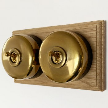Round Dolly Light Switch 2 Gang Renovated Brass