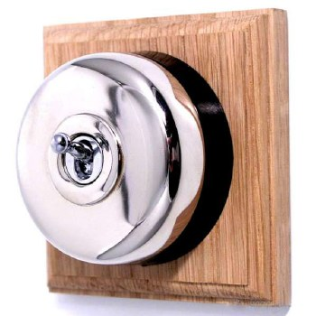 Round Dolly Light Switch on Wooden Base Polished Nickel 1 Gang