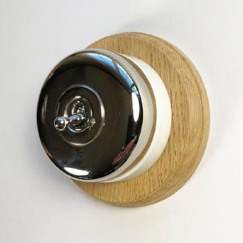 Round Dolly Light Switch & Circular Oak Base Polished Nickel & White Mount