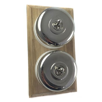 Round Dolly Light Switch on Wooden Base Polished Nickel 2 Gang