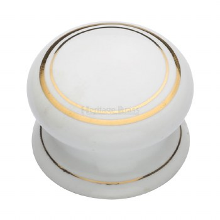 Heritage Porcelain Cabinet Knob 32mm White & Gold Line
