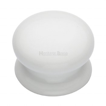 Heritage Porcelain Cabinet Knob 32mm White