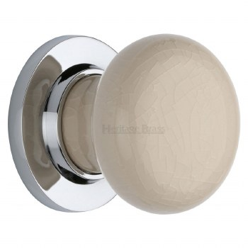 Heritage Porcelain Door Knobs Cream Crackle with Polished Chrome Rose