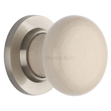 Heritage Porcelain Door Knobs Cream Crackle with Satin Nickel Rose