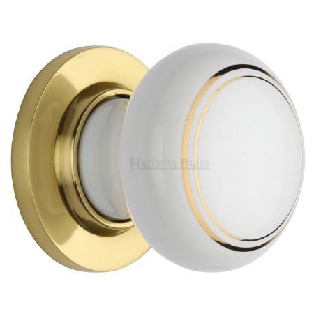 Heritage Porcelain Door Knobs White & Gold Line with Polished Brass Rose