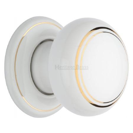 Heritage Porcelain Door Knobs White & Gold Line