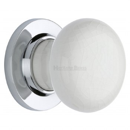 Heritage Porcelain Door Knobs White Crackle with Polished Chrome Rose