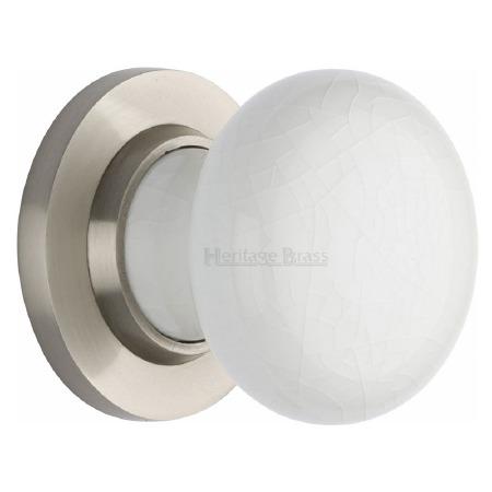 Heritage Porcelain Door Knobs White Crackle with Satin Nickel Rose