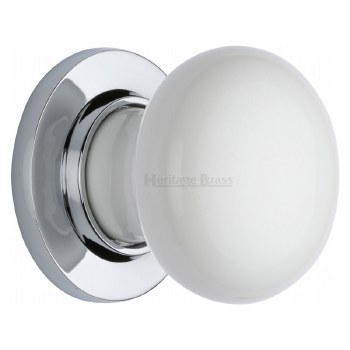 Heritage Porcelain Door Knobs White with Polished Chrome Rose