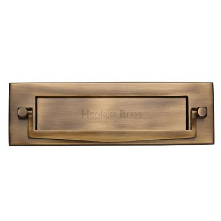 Heritage Postal Knocker V830 Antique Brass Lacquered