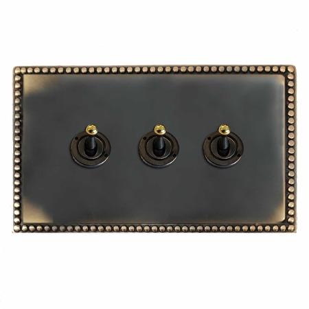 Regency Dolly Switch 3 Gang Dark Antique Relief