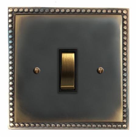Regency Rocker Light Switch 1 Gang Dark Antique Relief