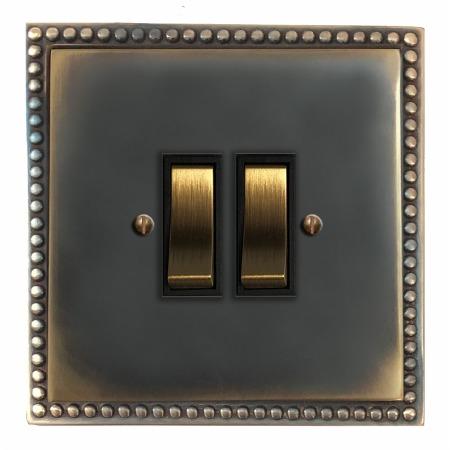Regency Rocker Light Switch 2 Gang Dark Antique Relief